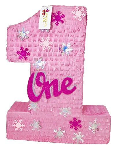 APINATA4U Large Pink Number One Pinata with Snowflakes -