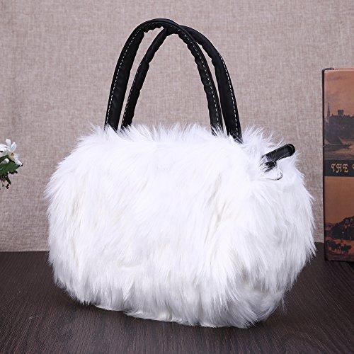 Messenger Faux Women Tote Rabbit Widewing Shoulder Bag Handbag Fur Cute White Pretty wSqqp7fz