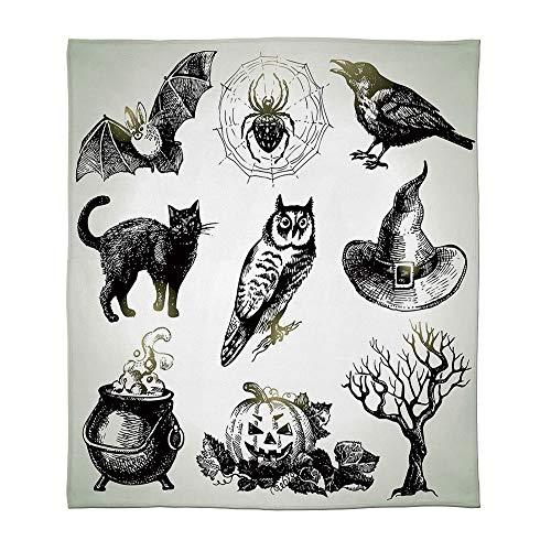 YOLIYANA Fine Flannel Blanket,Vintage Halloween,for Home Travel Camping,Size Throw/Twin/Queen/King,Halloween Related Pictures Drawn by Hand Raven ()