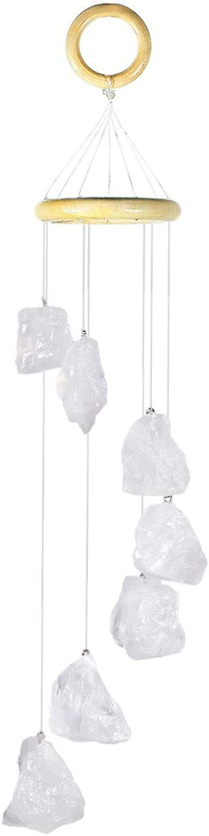 mookaitedecor Rock Quartz Raw Stones Rough Crystals Wind Chimes for Home Garden Decoration 17-21 Inches
