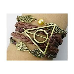 Harry Potter Deathly Hallows Logo-Golden Snitch-Hedwig Pendant 3 in 1 Handmade Bracelet
