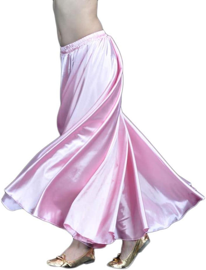 Falda Larga Color Sólido Satén Profesional Danza del Vientre Swing ...