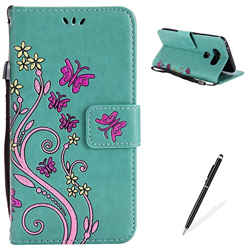Ballet Embossed Wallet - LG G5 Case,MAGQI Premium Slim Fit Flip PU Leather Stand Wallet Book Style Case with Card Slots Magnetic Closure Embossed Rose Flower Butterfly Pattern Cover - Green