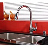 """Kraus KHU103-33-KPF2230-KSD30CH 33"""" Undermount Double Bowl Stainless Steel Kitchen Sink with Chrome Kitchen Faucet and Soap Dispenser"""