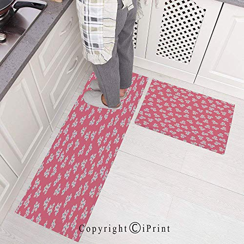 Kitchen Mats Non Slip Washable Doormat Water Absorbent Anti-Slip Mat,Cute Little Daisies Bouquets Girls Bedroom Decor Freshness Pink Backdrop for Kitchen Bedroom Bathroom,Area Rugs Carpet 15.7
