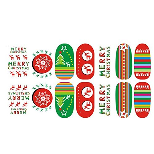 Nail Art Stickers,Collote Tech Christmas Luminous Nail Stickers Beautiful