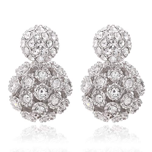 Circle Stud Front and Hollow Design Ball Back, Double Side Crystal Earrings