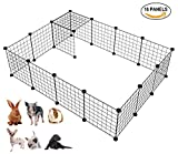 DESINO Small Pet Pen, Portable Pet Playpen, Metal Animal Case Indoor/Outdoor, Pet Yard Fence for Puppy/Guinea Pig/Rabbit, Black 12 Pcs Panels (white) Review