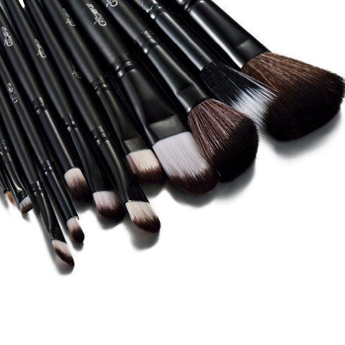 Glow Black 12 Pc Make up Brushes Set with Crocodile Leather Design Case