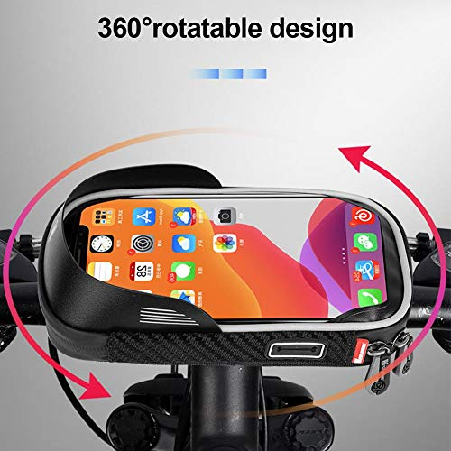 Grehod Motorcycle Bike Mobile Phone Mount Bags, Bicycle Cycling Waterproof Front Carrier Pouch with TPU Touch Screen, Black Bike Frame Bags Appropriate