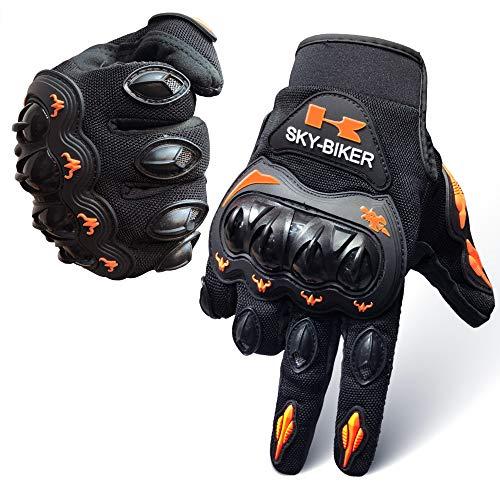 Motorcycle Carbon Fiber Motorbike Full Finger Gloves Men Orange, ATV Men Youth Motocross Street Gloves Waterproof Breathable Non-Slip,Reinforced Knuckle Shell Shock-Resistant Breathable Gloves. (Motocross Atv Gloves)