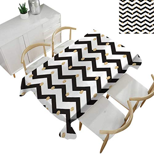 - Greatdecor Chevron Tablecloths, Zig Zag Symmetric Pattern with Gold Polka Dots Rounds Modern Minimalist Design Rectangular Fabric Table Cloths for Dining Room Kitchen 60'' x 84'' Black White