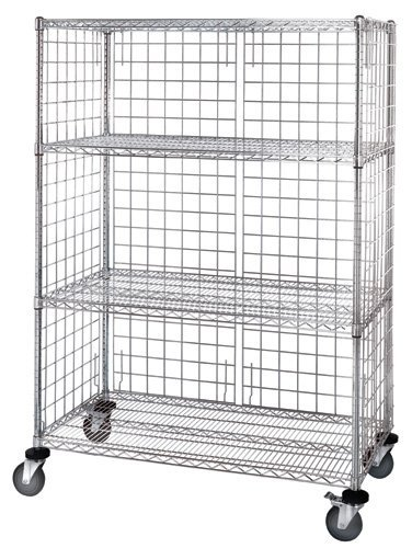 - Quantum Storage Systems M2460C46E 4-Tier Wire Shelving Cart with 3-Sided Enclosure Panel, 5