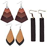 3 Pairs Faux Leather Teardrop Earrings Real Leather Hook Earrings Antique Looking Leaf Shape Dangle Drop Pierced Earrings for Women, Girls