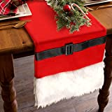 table decorations for christmas OurWarm Luxury Faux Fur Christmas Table Runners Santa Belt Winter Table Runner for Christmas Holiday Table Decorations, Double Layered Holiday Table Runner 14 x 72 Inch