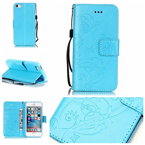 iPhone 6 Case,iPhone 6S Case,ARSUE Butterfly Flower [Kickstand] Pattern Premium PU Leather Wallet [Card Slots Cash Compartment] Flip Cover for iPhone 6/6S (Blue)