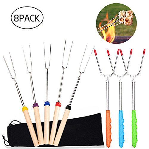 Marshmallow Roasting Sticks Extendable Hot Dog Roasting Sticks for Campfires 8pcs Telescoping Stainless Steel Barbecue Forks by Femose