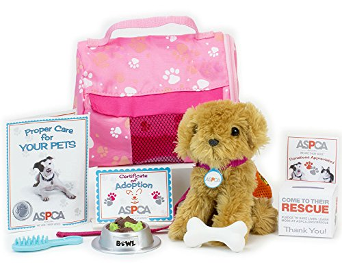 ASPCA Complete Adopt-A-Pet Puppy Set. Doll Pets, Complete 11 Piece ASPCA Golden Puppy Perfect for 18 Inch American Girl Doll Includes 11 Piece 18 Inch Doll Play Set with Dog Carrier in ASPCA Box