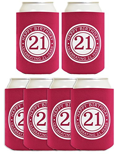 21st Birthday Gift Celebrating 21 Years 6 Pack Can Coolies Drink Coolers Magenta