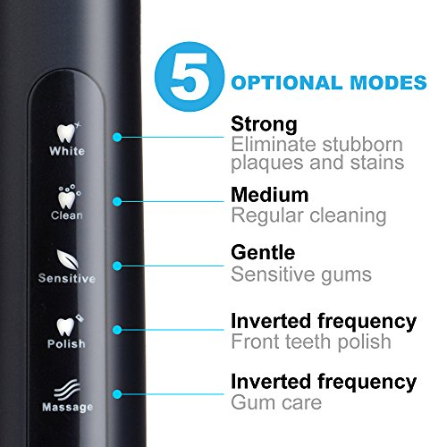 Electric Toothbrush Clean as Dentist Rechargeable Sonic Toothbrush with Smart Timer 4 Hours Charge Minimum 30 Days Use 5 Optional Modes Waterproof Fully Washable 3 Replacement Heads Black by Fairywill by Fairywill (Image #2)