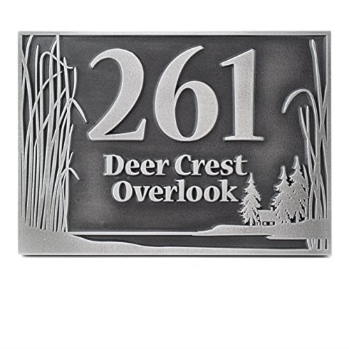 Prairie Grass Address Plaque 15x10 - Raised Pewter Coated by Atlas Signs and Plaques