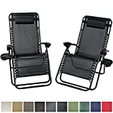 Sunnydaze Black Outside Oversized Zero Gravity Lounge Chair with Pillow and Cup Holder, Set of Two