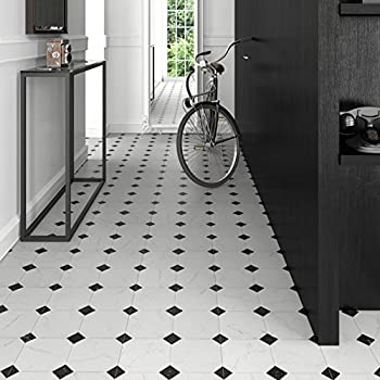 "Somertile Fem13btb Areba Ceramic Floor & Wall Tile, 13.125"" X 13.125"", Blackwhite 2"