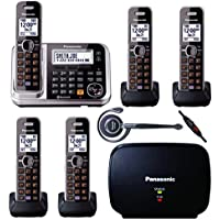 Panasonic Link2Cell KX-TG7875S DECT 6.0 Bluetooth Cordless & Digital Answering Machine - 5 Handsets Bundle