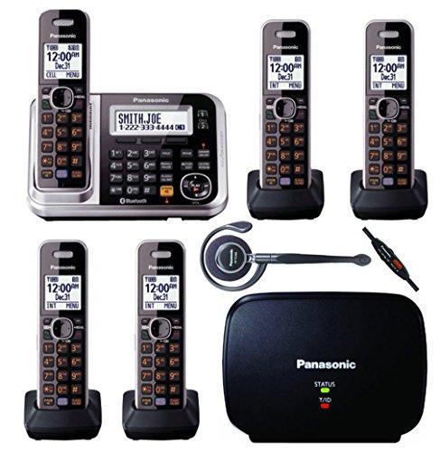 Alert Digital Cordless Phone - Panasonic Link2Cell KX-TG7875S DECT 6.0 Bluetooth Cordless & Digital Answering Machine - 5 Handsets Bundle
