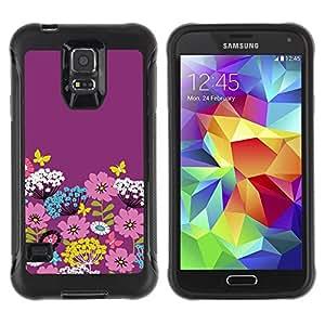 Paccase / Suave TPU GEL Caso Carcasa de Protección Funda para - Purple Floral Art Flowers Pink Spring Easter - Samsung Galaxy S5 SM-G900