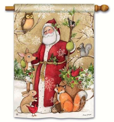 Cheap Woodland Santa Christmas House Flag Owl Deer Fox Holiday Animals 28″ x 40″