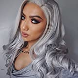 Heahair® Cosplay Hair Wig Long Curly Hair Heat Resistant Costume Party Synthetic Lace Front Wigs(Silver)