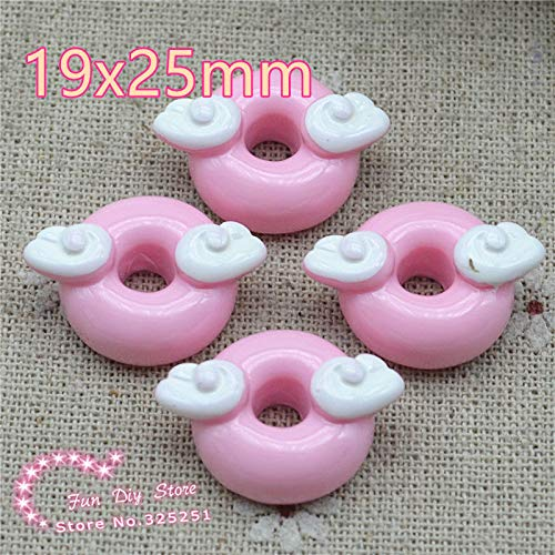 (ZAMTAC Pink Donut with Wing Dessert Resin Flat Back for Decoration,Hair Bow Center 50pcs/lot 19x25mm)