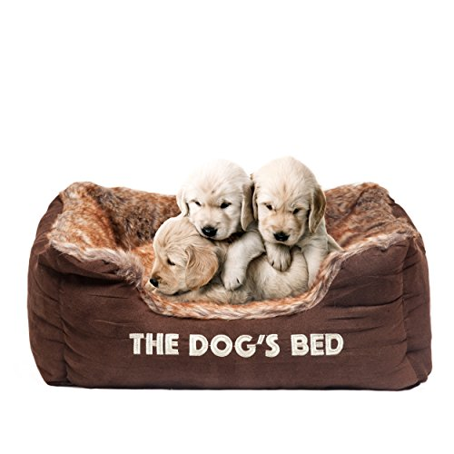 The Dog's Balls Bed, Premium Plush Soft Dog Beds, Fully Washable, Hyper-Allergenic and Extremely Soft and Comfortable, Grey and Brown, Small/Medium/Large/X-Large