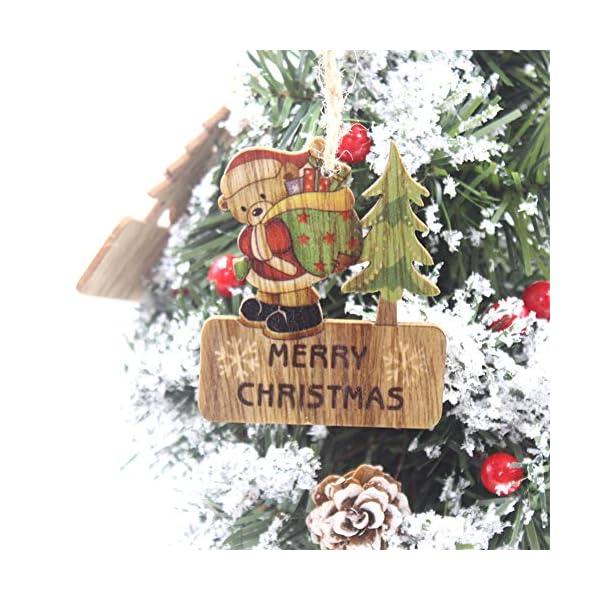 Set di decorazioni per alberi di Natale,12 pezzi in legno carino ornamenti per lavagna con pendente pendente con corde,3 pollici Modello di pupazzo di neve retrò di Babbo Natale per la decorazione 6 spesavip