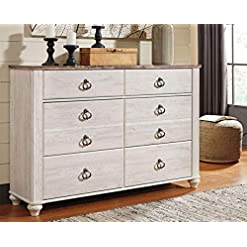 Bedroom Signature Design by Ashley Willowton Coastal Cottage 6 Drawer Dresser with Faux Plank Top, Whitewash farmhouse dressers