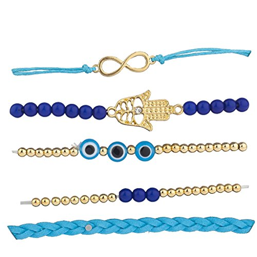 Lux Accessories Goldtone Blue Infinity Evil Eye Hamsa Arm Candy Set (5pcs)