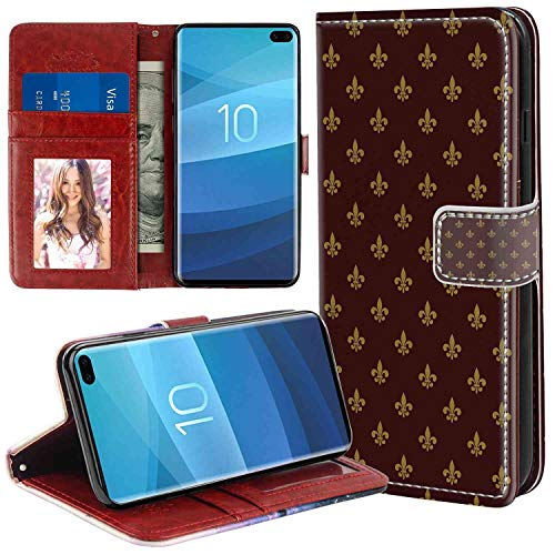 (Samsung Galaxy S10+ Wallet Case, Fleur De Lis French Pattern European Culture Theme Abstract Vintage Renaissance Burgundy Earth Yellow PU Leather Folio Case with Card Holder and ID Coin Slot)