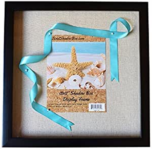 """12x12"""" Display Shadow Box Frame with Linen Background - Ready To Hang Shadowbox Picture Frame - Easy to Use - Box Display Frame, Baby and Sports Memorabilia, Uniforms, Military Medals, Pins, Wedding."""