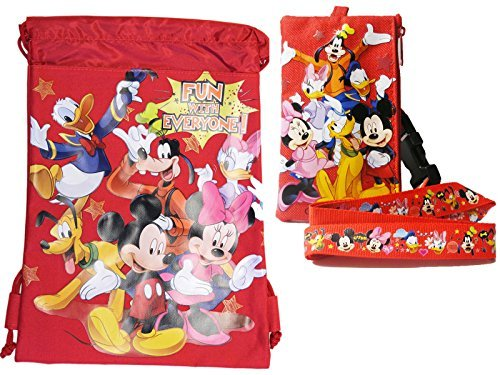 Red Mickey Mouse with Friends Drawstring Bag and Lanyard