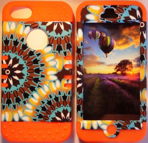 Cellphone Trendz (TM) Hybrid Rocker High Impact Bumper Case Psychedelic Tie-Dye Aztec Tribal /Orange Silicone for Apple iphone 5