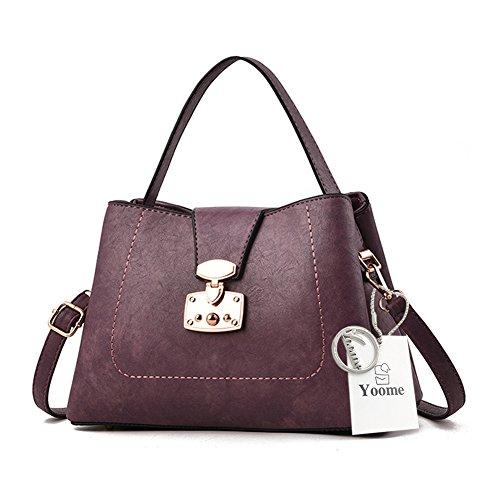 Yoome bolsos grandes de la capacidad grande para la manija superior de la tapa bolsos de la cartera Bolsos elegantes para las mujeres - color de rosa Púrpura