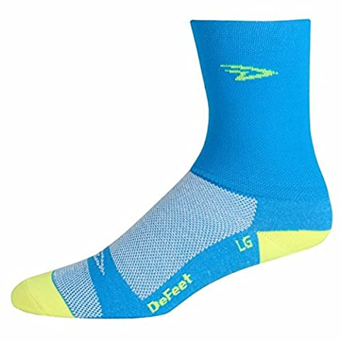 DeFeet Aireator Hi Top Sock: Blue/Yellow; MD