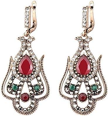 Vintage turca resina roja flor mujeres pendiente oro antiguo hueco arabesco étnico largo gancho Gota pendiente joyería india