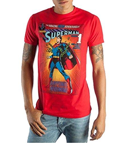 Bioworld Vintage Superman DC Comic Book Cover Artwork Men's Red Graphic Print Boxed Cotton T-Shirt (Cover Art T-shirt)