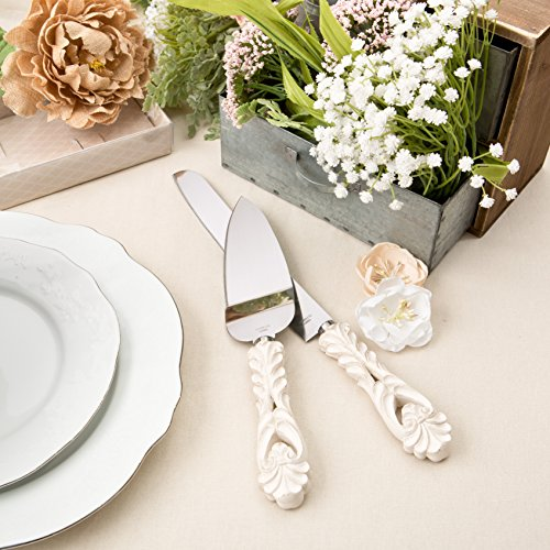 Fashioncraft Vintage Baroque Design Antique Ivory Server and Cake Knife Set, One Size, ()