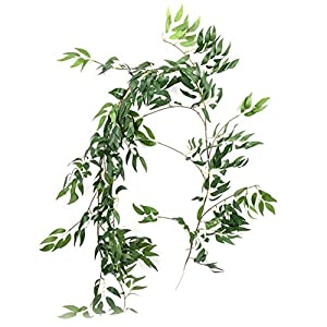 """66.9"""" Artificial Willow Leaves Vines Twigs Fake Silk Willow Plant Leaves Hanging Ivy Garland String Green for Home Decor Indoor Wedding Door Arch Garden Decoration 2"""