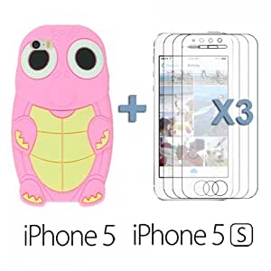 OnlineBestDigital - Turtle Style 3D Silicone Case for Apple iPhone 5S / Apple iPhone 5 - Pink with 3 Screen Protectors