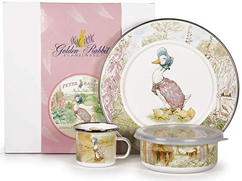 Golden Rabbit - Enamelware Jemima Puddle-Duck Pattern Child Dinner Set ()