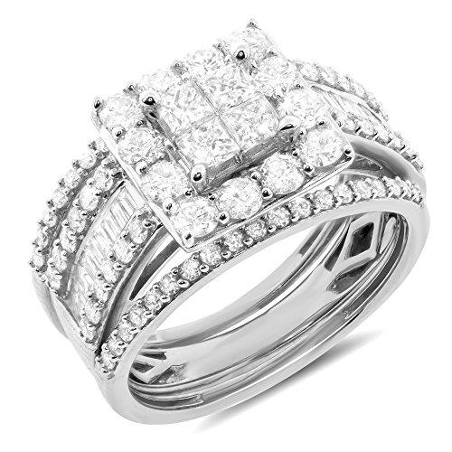 2.00 ctw 10k Gold Princess Round Baguette Diamond Halo Bridal Set Engagement Ring Matching Wedding Band - White-gold, Size 7.5